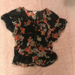 Mesh flowered shirt size small